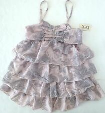 *NWT* FOREVER 21 TEENS MULTI-RUFFLED TANK TOP IN GREY & PINK SIZE S/P T15 A1