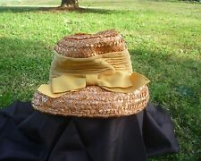 VINTAGE PEACH STRAW HAT WITH GOLD RIBBON