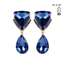 "2.5"" Long Blue Rhinestone Triangle and Teardrop Clip-On Gold Tone Earrings"
