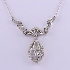 "LUSH Antique 14k White Gold Diamond Chandelier Filigree Pendant Necklace 19"" WOW"