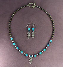 OWL TOTEM NECKLACE EARRING SET Bird Swarovski Crystals Druk Antiqued Silver Blue
