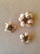 Signed DEMARIO NY Vintage Brooch Pin & Earrings SET Mother Of Pearl Flower