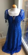 Vintage Estilo Gypsie Azul Real largo Encaje Vestido Talla Grande Efecto Totalmente Forrado