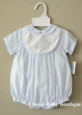 NWT Petit Ami Blue Sailboat Bib Romper Newborn Hat Baby Boys Bubble