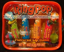 NEW! LOTTA LUV 5pc Gift Set RING POP Candy - Lip Balms/Gloss x4 + Clear Case
