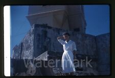 1960 Kodachrome Photo slide Lady in dress  with camera