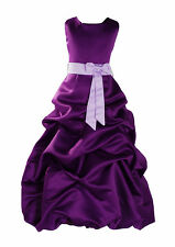 New Purple and Lilac Sash Bridesmaid Party Flower Girl Dress 6-7 Years
