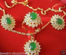 Jewelry natural Green Jade Necklace Earring Ring set