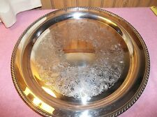 "Vintage Wm. Rogers Silver Plate Etched Round Serving Tray #272 15"" Small Label"