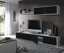 Aida Living Room Furniture Set TV Wall Media Unit Black on White Melamine