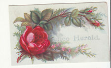 Providence Herald Red Rose Leaves Vict Card  c1880s