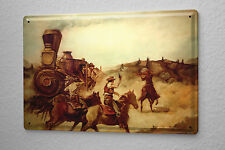 Baron Tin Sign Western assault with horses on a train in the prairie cowboy  Vin