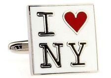New York I Heart NY Cufflinks Love NYC Wedding Fancy Gift Box Free Ship USA