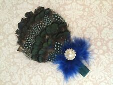 Newborn Baby Girl Peacock Feather & Sparkle Rhinestone Headband fits 0-12 months