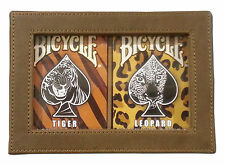 Lot 2 Bicycle Big Cats Jungle Tiger & Leopard Deck Playing Cards  w/Leather Case