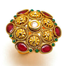 Ring One Two Gram Gold Plated Kundan Pearl Ad Jade Adjustable Jewelry Set 7342