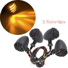 Universal 4x Black Aluminum Motorcycle Turn Signals Lights Chopper Bobber Yamaha