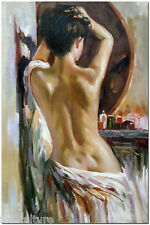 Dressing Table - Signed Hand Painted Pino Daeni Nude Oil Painting On Canvas