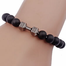 Matte Natural Stone Lift Black Beads Dumbbell Barbell Bracelets Bangles Men Xmas