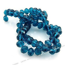 1string Hotsale Teal Blue Faceted Loose Glass Crystal Spacer Bead Fit Necklace J