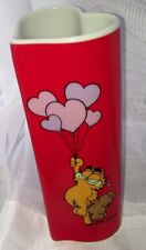 Rare Vintage Garfield Red Heart shape LOVE Vase 1978 Valentines  - No Chips