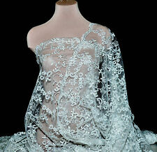 STRETCH MESH  LACE CORDED  SEQUIN FABRIC WHITE , PAGEANT ,FORMAL DRESS , BRIDAL