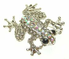 New Silver Tone AB Aurora Borealis Pave Crystal Frog Brooch in Gift Box