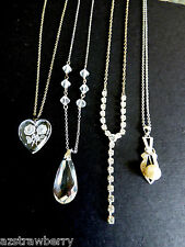 Lot of 4 VTG silve tone metal chains pendants Cameo rhinestones glass necklaces