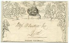 "1844 1d Mulready to Leith from London  6 JUN 1844 with No ""18"" London numeral"