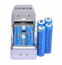 6 XAAA1800mah1.2V NiMH rechargeable battery Blue +USB Charger MP3