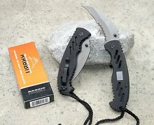 Black Rabbit Spring Assist Folding Hawkbill Karambit Pocket Knife Paracord Rope