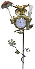 "Owl Rain Gauge & Thermometer Yard Stake,Metal,42"" Tall, also in Frog, 5336"