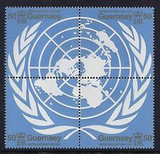 1995 GUERNSEY UNITED NATIONS 50th ANNIVERSARY BLOCK OF 4 FINE MINT MNH/MUH