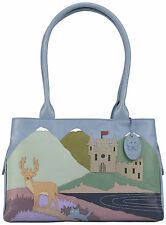 50% OFF CICCIA CAT SCATTISH HIGHLANDS BLUE LEATHER SHOULDER BAG RRP £130