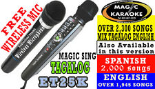 PINOY VERSION ET25K ENTERTECH MAGIC SING KARAOKE MIC FREE WIRELESS DUET MIC