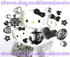3D DIY Cell Phone Case black Kawaii Hello Kitty anchor cabochon Deco Den Kit