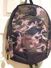 "CAMO Backpack + Batman Keyring Keychain 15""  Camouflage School Bag NEW"