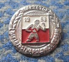 Ist POLAND YOUTH CHAMPIONSHIPS BOXING city BIALYSTOK 1953 RARE PIN BADGE