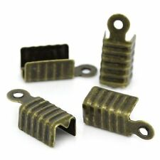1000 Fold Over Cord Tip/ends Crimps Antiqued Brass, 12x5mm Approx 1000
