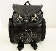 women owl PU Leather Briefcase rucksack Backpack Messenger book small travel Bag