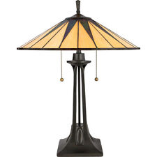 Quoizel Gotham Art Deco Stained Glass Tiffany Table Lamp TF6668VB
