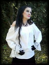 Gothic Mittelalter Carmen Bluse natur wollweiss Spitze Barock 36 38 40 42 44 46