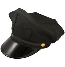 Men's Chauffeur Hat Limo Driver Black Peaked Cap Fancy Dress Costume Accessories