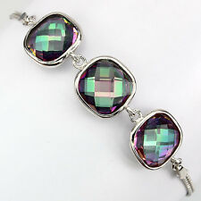 Sterling Silver 925 Cushion Cut Genuine Mystic Topaz Bracelet 6.5 to 7.5 Inches