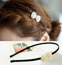 Fashion Korean Style Women Girl Pearls Bow Hairband Headband Hair Accessories