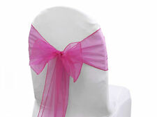 "72 Chair Bow Organza Sashes Chair Wedding Party Bows 9"" x 10ft-Hot Pink"