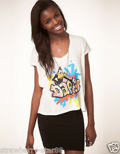 Junk food Daffy Duck Tshirt With Graffiti Print in White UK SMAL