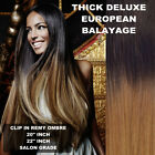 THICK DIP DYE 1B/12 BALAYAGE OMBRE CLIP IN REMY HUMAN HAIR EXTENSIONS BLONDE