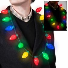 LED Light Up Christmas Bulb Necklace Party Favors for Adults or Kids Flashing HN