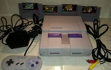 Super Nintendo SNES Console 4 Games Bundle tested works 1 controller FREE SHIP